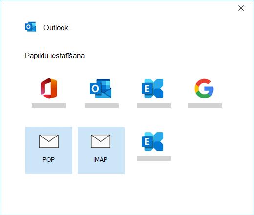 Konta tipa atlasīšana, manuāli iestatot e-pasta kontu programmā Outlook