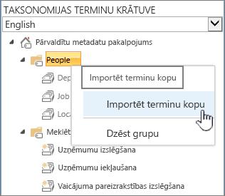 Importēt terminu kopu nolaižamais saraksts