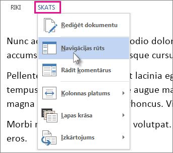 Lasīšanas režīma izvēlnes Skats attēls, kurā ir atlasīta opcija Navigācijas rūts.