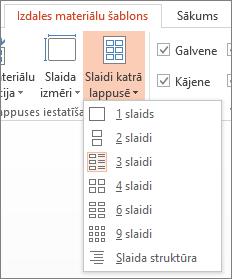 Opcijas Slaidu skaits lappusē