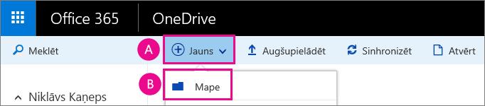 Izveidot jaunu mapi pakalpojumā OneDrive darbam.