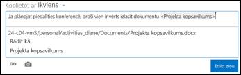 Dokumenta vietrādis URL jaunumu plūsmas ziņā, kas formatēta ar displeja tekstu