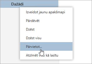 Mapes konteksta izvēlnes ekrānuzņēmums ar atlasītu pārvietot