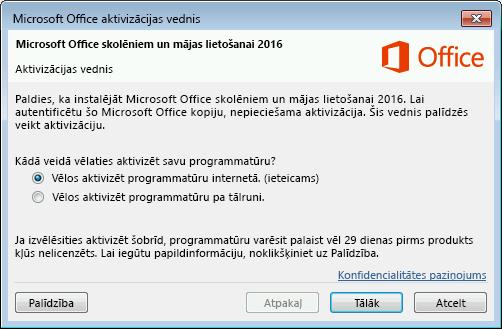 Rāda Microsoft Office aktivizācijas vedni