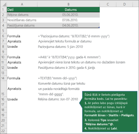 Piemēri, kā formulās var apvienot tekstu ar datuma un laika vērtības