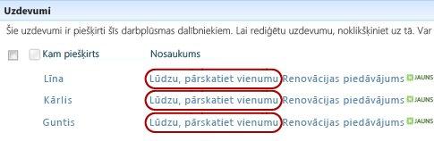 Recenzēšanas uzaicinājuma teksts lapā Statuss pie uzdevuma nosaukuma