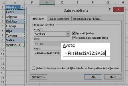 Datu validācijas saraksta opcijas