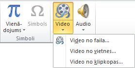 Lentes poga tiešsaistes video ievietošanai programmā PowerPoint2010