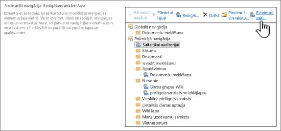 Sadaļā strukturālo navigāciju navigācijas iestatījumi ar pievienot saiti iezīmēts vienums