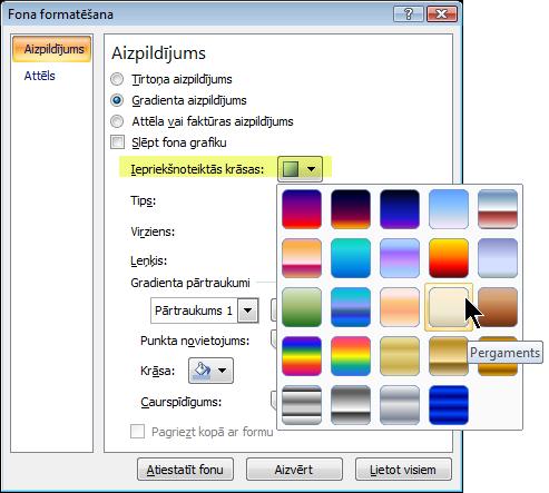 Lai lietotu jau iepriekš iestatītu gradientu, atlasiet Sākotnēji iestatīti gradienti un atlasiet opciju.