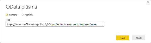 OData plūsmas URL Power BI darbvirsmai