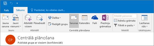 Tas ir kā grupas galvenē izskatās programmā Outlook 2016