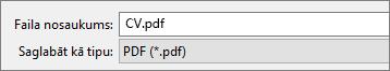 Lodziņā Saglabāt kā tipu izvēlieties PDF.