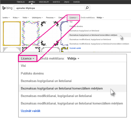Apmales klipkopas meklēšana, izmantojot licences filtru