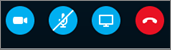 Skype rīki, kurā redzamas šādas ikonas: kamera, mikrofons, prezentācijas ekrāns, tālruņa klausule