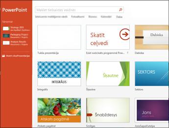 PowerPoint2013 sākuma ekrāns