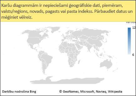 Excel kartes diagramma ar neviennozīmīgiem datiem