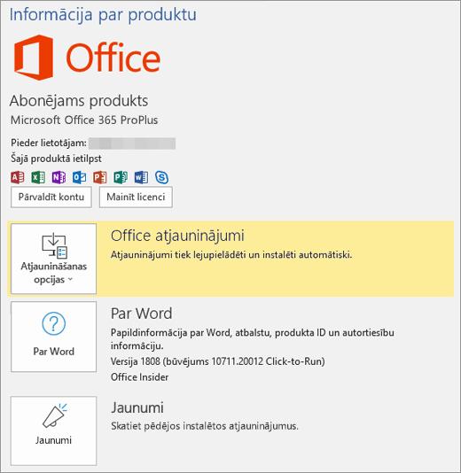Parāda Office 365 Aizkulišu skatu