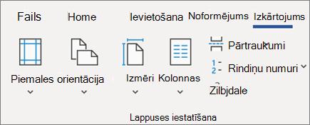 Izkārtojuma mainīšana programmā Word