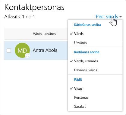 Ekrānuzņēmums, kurā redzama nolaižamā izvēlne filtrs lapā personas.