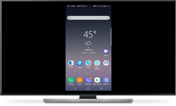 Kad starp tālruni un lielo ekrānu ir izveidots savienojums, tālruņa ekrāns tiek parādīts lielajā ekrānā