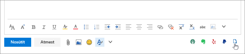 Ekrānuzņēmums, kurā e-pasta ziņojumu, zem pamatteksta apgabala ar kursoru, kas norāda uz Manas veidnes ikonu labajā apakšējā apgabalā.