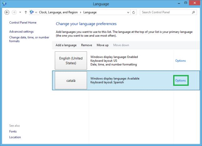 lietotāja interfeisa valodu