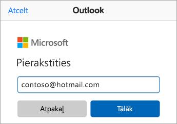 Ievadiet Outlook.com e-pasta adresi