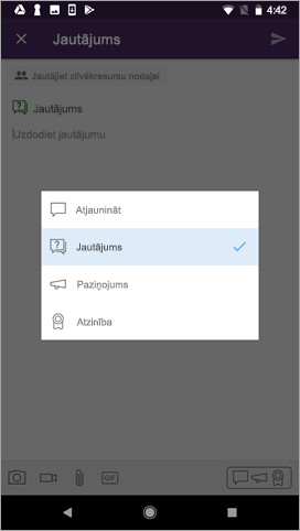 Ziņu ieraksta veida atlase Android ierīcēs