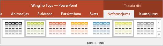 Tiek rādīti tabulu stili programmā PowerPoint