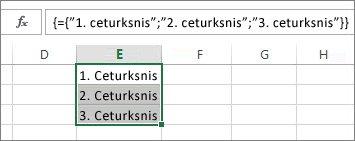 Vertikāla masīva konstante, kurā izmantots teksts
