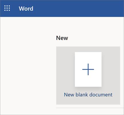 Word Online atvēršanas lapa ar jaunu tukšu dokumentu