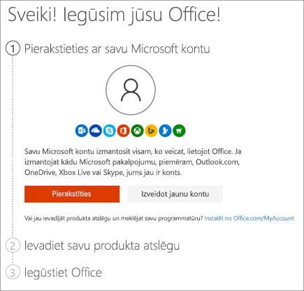 Rāda lapu setup.office.com, kurā izmantojat savu produkta atslēgu