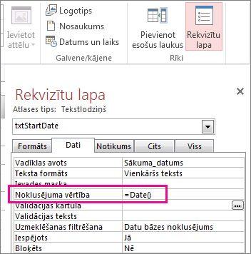 Rekvizītu lapa, kurā redzama rekvizīta Noklusējuma vērtība Date().