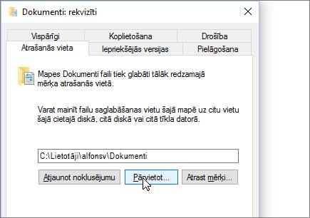Ekrānuzņēmums, kurā redzams dokumentu rekvizītu izvēlnē failu pārlūkā.