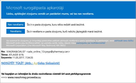 Ekrānuzņēmums ar e-pasta ziņojumu ar surogātpasta cīnītājiem