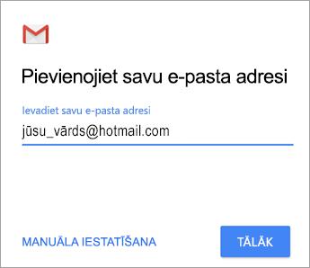 Pievienojiet savu e-pasta adresi