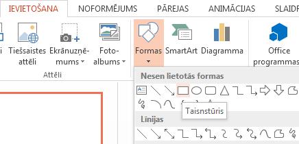 Grupas Ilustrācijas sadaļā Formas varat atlasīt formu, piemēram, taisnstūri.