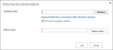 augšupielāde, izmantojot windows explorer