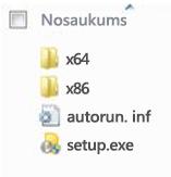 Office2010 64bitu instalācijas platformas atlasītāja mapju struktūra.