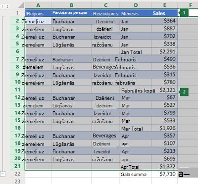 Rindu strukturējums programmā Excel Online