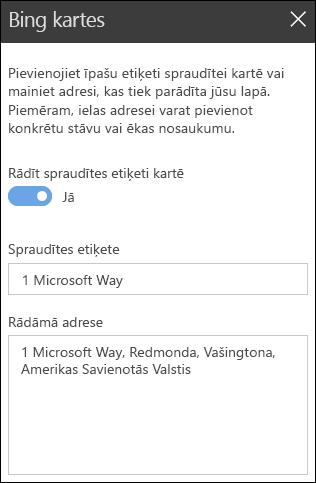 Bing Maps tīmekļa daļas rīklodziņa