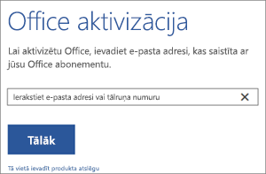 Parādīts aktivizācijas dialoglodziņš, kurā var pierakstīties, lai aktivizētu Office