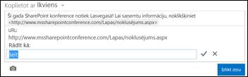 Tīmekļa lapas saite, kas formatēta ar parādāmo tekstu