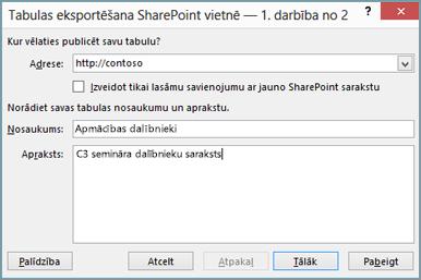 eksportēšanas uz SharePoint vedņa dialoglodziņš