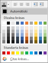Fonta krāsas izvēlne programmā Excel darbam ar Windows datoru.