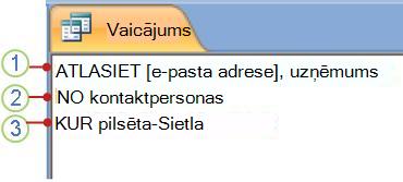 SQL objekta cilne, kurā redzams priekšraksts SELECT