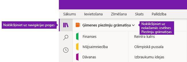 Piezīmju grāmatiņu saraksta izvēršana programmā OneNote darbam ar Windows 10