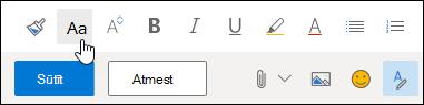 Ekrānuzņēmums fonta lieluma opcija par formatēšanas rīkjosla.