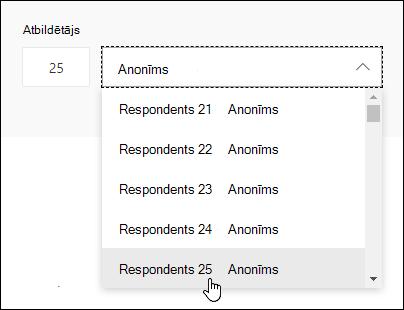 Ievadiet noteiktu skaitli respondentu meklēšanas lodziņā, lai skatītu detalizētu informāciju par šīs personas atbildi programmā Microsoft Forms